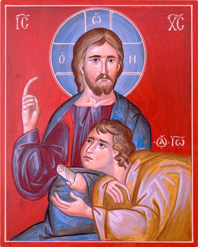 Orthodox Icon of Jesus Christ with St. John the Evangelist